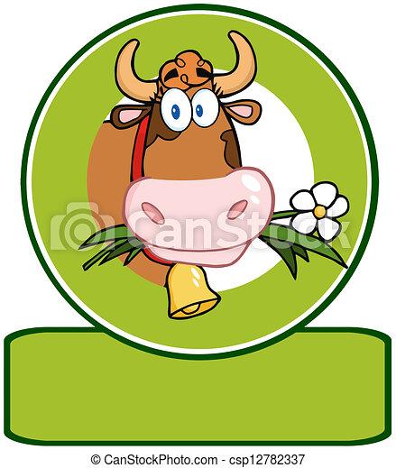 Dairy Cow Cartoon Logo Mascot - csp12782337