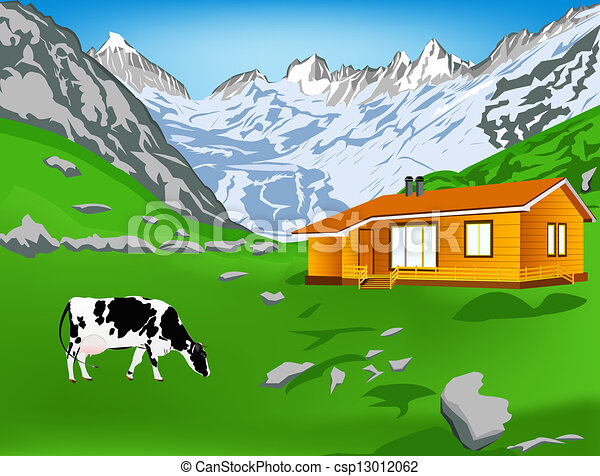 Dairy Cow On A Alps Mountains