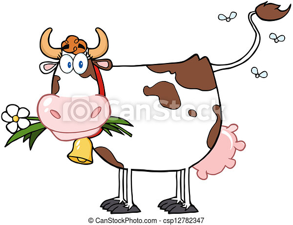 Dairy Cow With Flower In Mouth - csp12782347