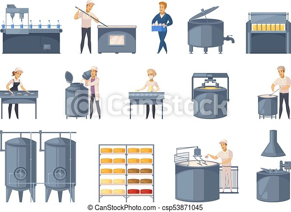 Dairy Production Cartoon Icons Set - csp53871045