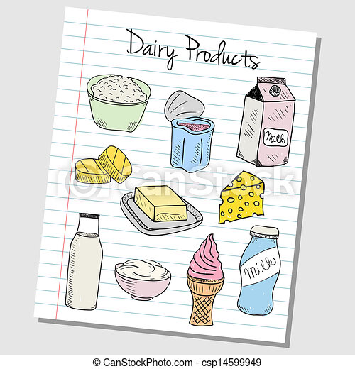 Dairy products doodles - lined paper - csp14599949