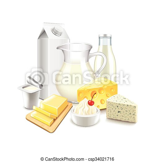 Dairy products isolated on white vector - csp34021716