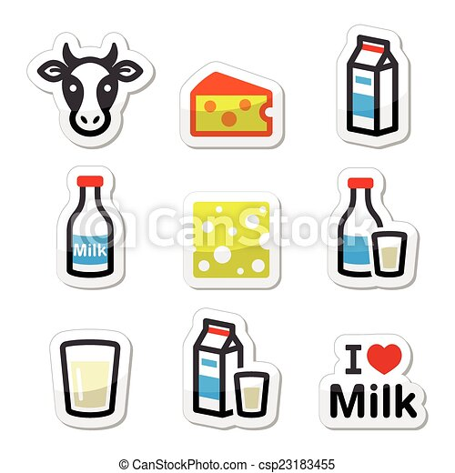 dairy products milk cheese icons vector icons set of clipart rh canstockphoto com dairy farm clipart daily clipart