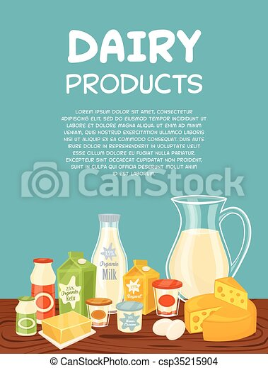 Dairy products vector poster template - csp35215904