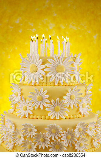 Brilliant Daisy Birthday Cake Three Tier Fondant Cake With Candles Against Funny Birthday Cards Online Elaedamsfinfo