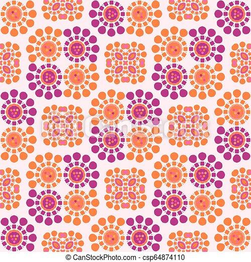 Daisy Dot Retro Flower Seamless Vector Pattern - csp64874110