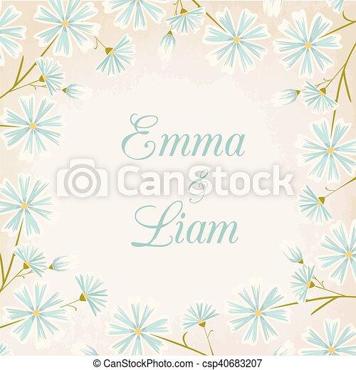 Daisy Flowers Round Border Wedding Card Template