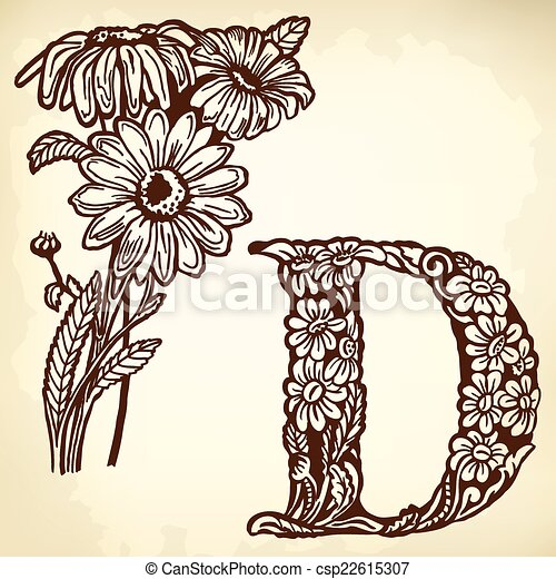 Daisy Letter D Letter Of The Alphabet D A Buch Of A Daisy With