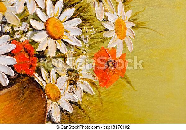 Daisy poppy flowers oil painting daisy and poppy flowers oil daisy poppy flowers oil painting csp18176192 mightylinksfo