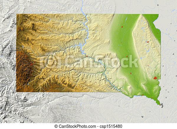 dakota, skuggat, lättnad, syd, karta - csp1515480