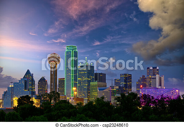 Dallas at dusk - csp23248610