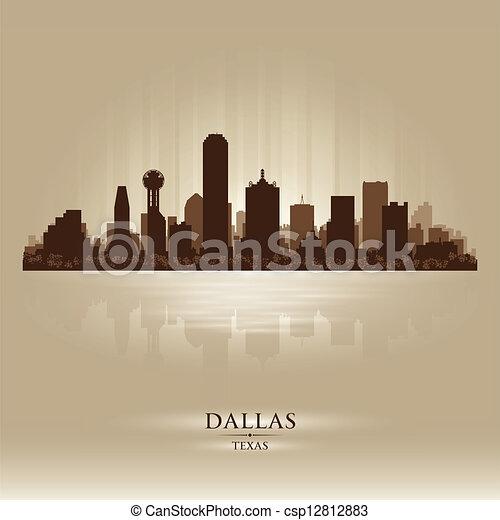 dallas, miasto skyline, sylwetka, texas - csp12812883