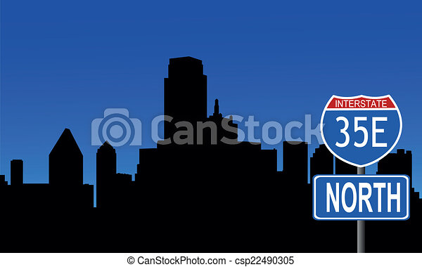 Dallas skyline interstate sign - csp22490305
