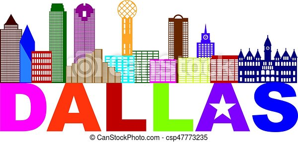 dallas skyline lone star text color illustration dallas texas city