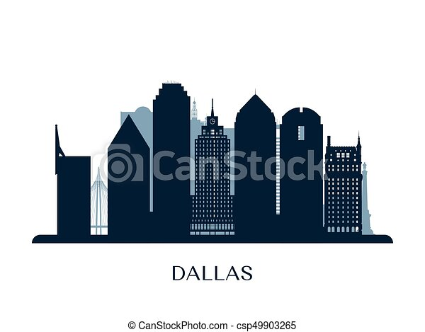 dallas skyline monochrome silhouette vector illustration
