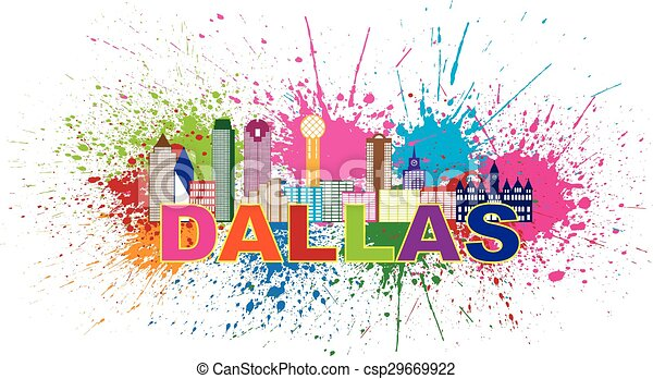 12x18 Vibrant Blue Splattered Paint on the City of Dallas Texas Canvas Art