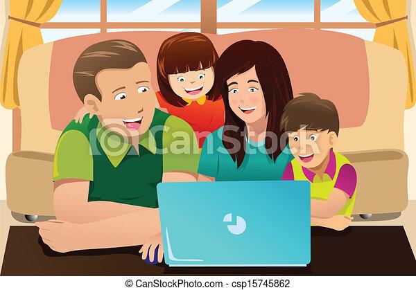 dall'aspetto, laptop, famiglia, felice - csp15745862