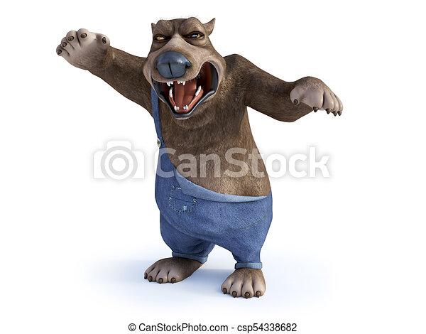 Dall aspetto molto cartone animato orso angry fondo molto