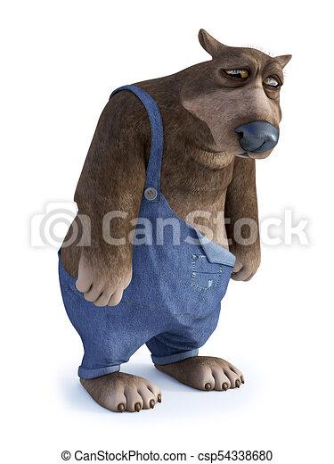 Dall aspetto molto orso cartone animato sad interpretazione