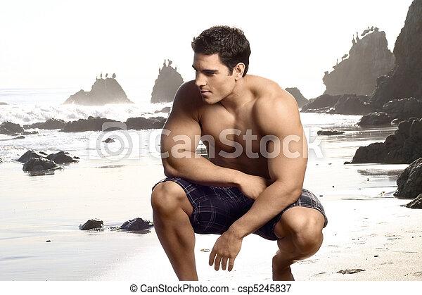dall'aspetto, shirtless, buono, adattare, uomo - csp5245837