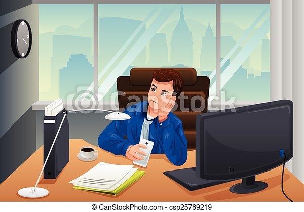 Ufficio Disegno Yoga : Dallaspetto uomo affari annoiato ufficio. ufficio illustrazione