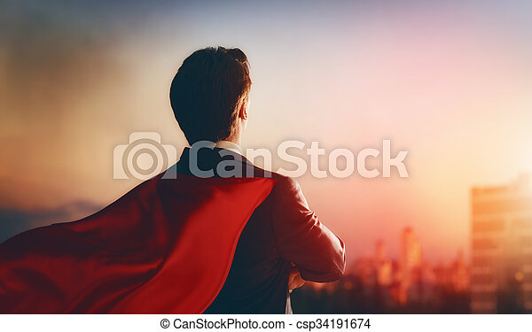 dall'aspetto, uomo affari, superhero, città - csp34191674