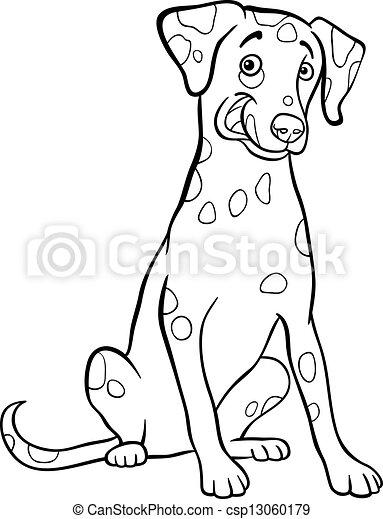 Dalmatian Dog Cartoon For Coloring Book