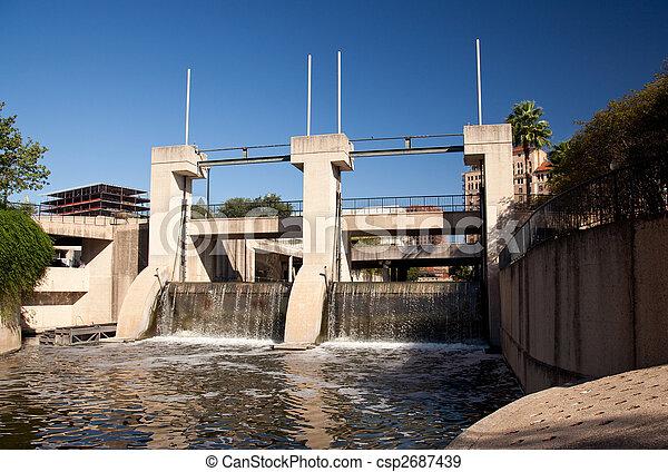 Dam on the river in San Antonio - csp2687439