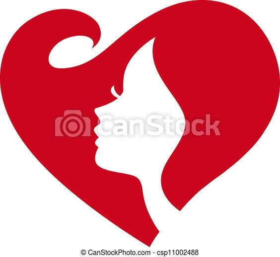 dam, silhuett, kvinnlig, rött hjärta - csp11002488