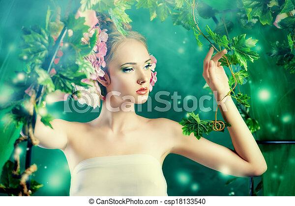 Señora en el jardín - csp18133540