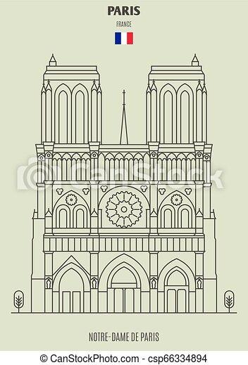 Notre-dame de paris, Francia. icono de marca - csp66334894