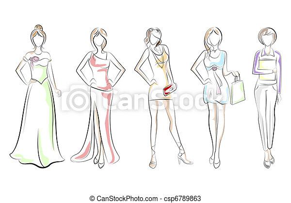 dama, różny, strój - csp6789863