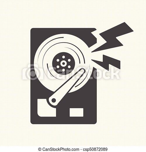 Damage the data, Hard disk scratch icon. Vector design - csp50872089