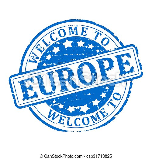Damage to blue stamp with the words - welcome to europe - illustration - csp31713825