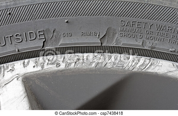 Damaged alloy wheel and tyre - csp7438418