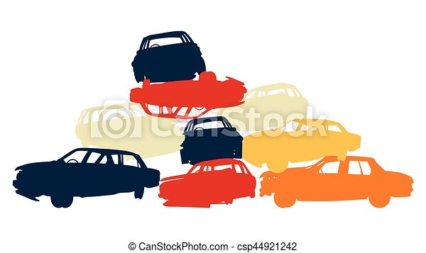 Damaged car pile in wrecking yard colorful vector background isolated - csp44921242