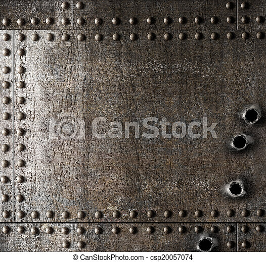 Damaged metal background with bullet holes - csp20057074
