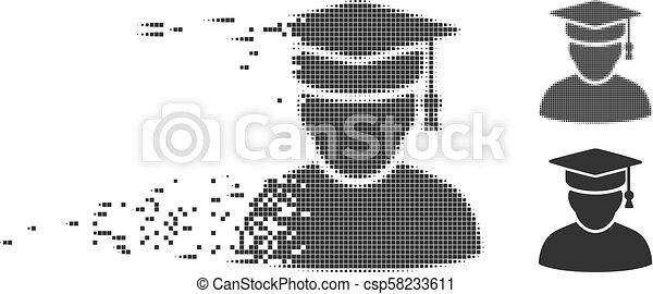 Damaged Pixel Halftone Knowledge Man Icon - csp58233611