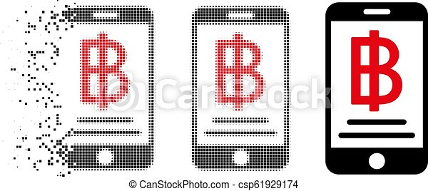 Damaged Pixelated Halftone Baht Mobile Payment Icon - csp61929174