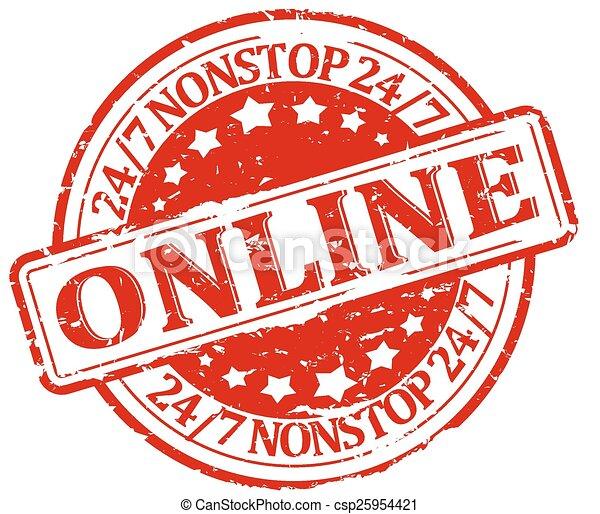 Damaged red round stamp - online, n - csp25954421
