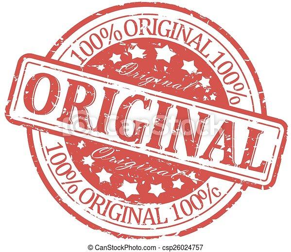 Damaged red round stamp - original - csp26024757