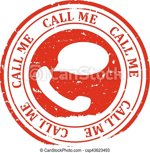 Damaged red round stamp with the words - call me, call now - vector - csp43623493
