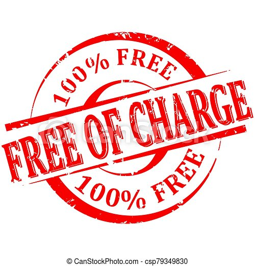 Damaged red round stamp with the words free charge 100% free - csp79349830