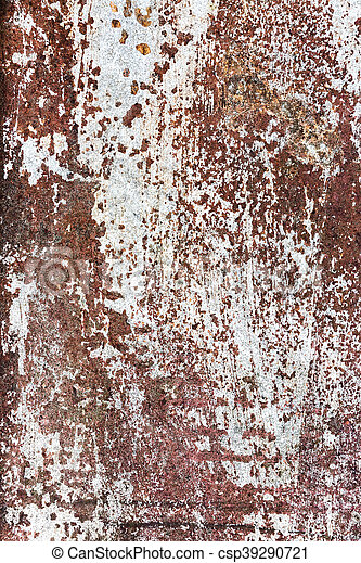 Damaged rust metal surface with corroded white paint texture background