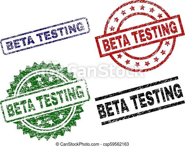 Damaged Textured BETA TESTING Seal Stamps - csp59562163