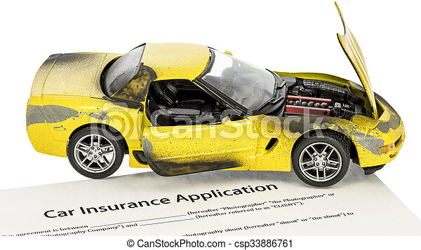 Damaged yellow car with a form for insurance - csp33886761