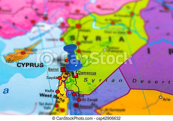 Damascus Syria Mapa Mapa Szkola Barwny Effect Nachylenie