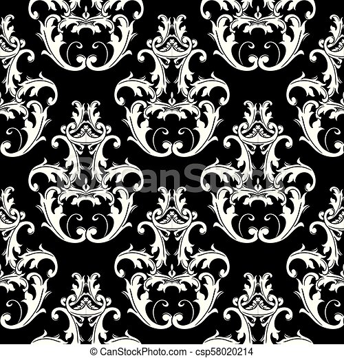 damask black white seamless pattern floral background wallpaper