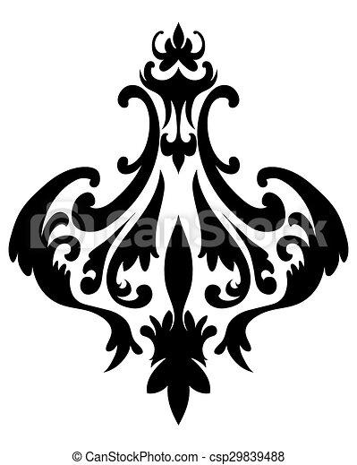 damask emblem emblem in damask style over white background vector rh canstockphoto com damask vector download damask vector background free