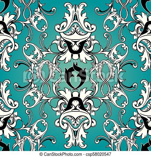 Damask Floral Seamless Pattern Light Blue Background Wallpaper